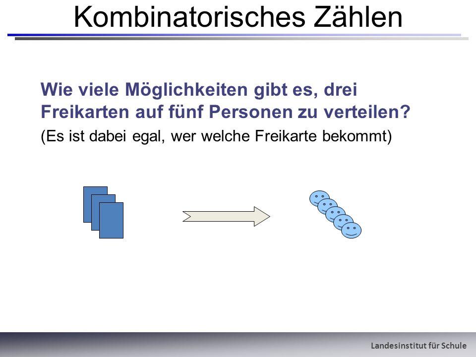 Landesinstitut für Schule Kombinatorisches Zählen Wie viele Möglichkeiten gibt es, drei Freikarten auf fünf Personen zu verteilen? (Es ist dabei egal,