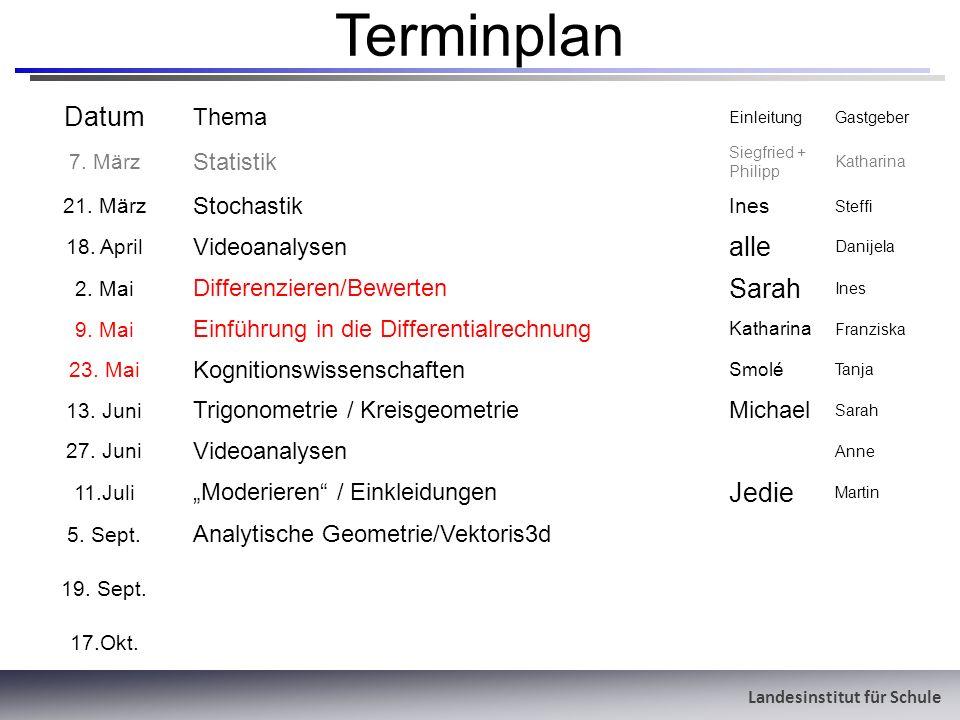 Landesinstitut für Schule Terminplan Datum Thema EinleitungGastgeber 7. März Statistik Siegfried + Philipp Katharina 21. März Stochastik Ines Steffi 1