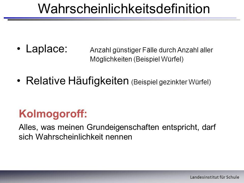 Wahrscheinlichkeitsdefinition Laplace: Anzahl günstiger Fälle durch Anzahl aller Möglichkeiten (Beispiel Würfel) Relative Häufigkeiten (Beispiel gezin