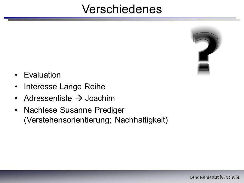 Landesinstitut für Schule Verschiedenes Evaluation Interesse Lange Reihe Adressenliste Joachim Nachlese Susanne Prediger (Verstehensorientierung; Nach