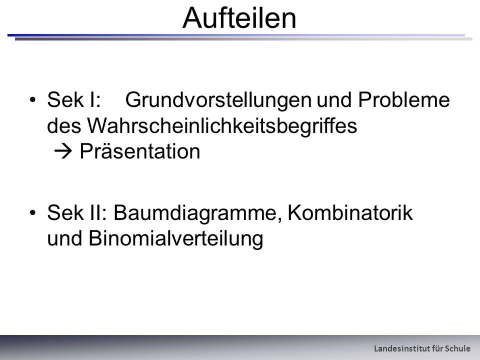 Landesinstitut für Schule Aufteilen Sek I:Grundvorstellungen und Probleme des Wahrscheinlichkeitsbegriffes Präsentation Sek II: Baumdiagramme, Kombina