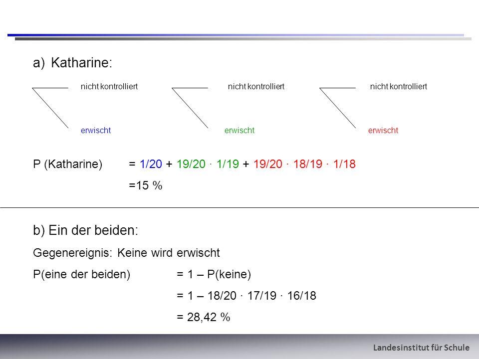 Landesinstitut für Schule a)Katharine: nicht kontrolliert nicht kontrolliert nicht kontrolliert erwischterwischterwischt P (Katharine) = 1/20 + 19/20