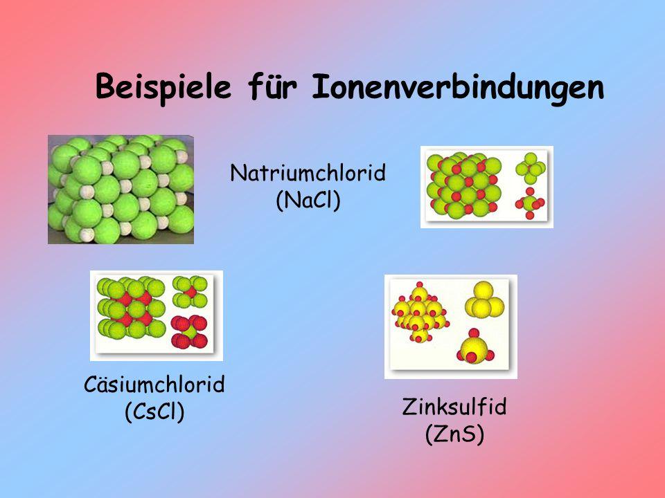 Beispiele für Ionenverbindungen Natriumchlorid (NaCl) Cäsiumchlorid (CsCl) Zinksulfid (ZnS)