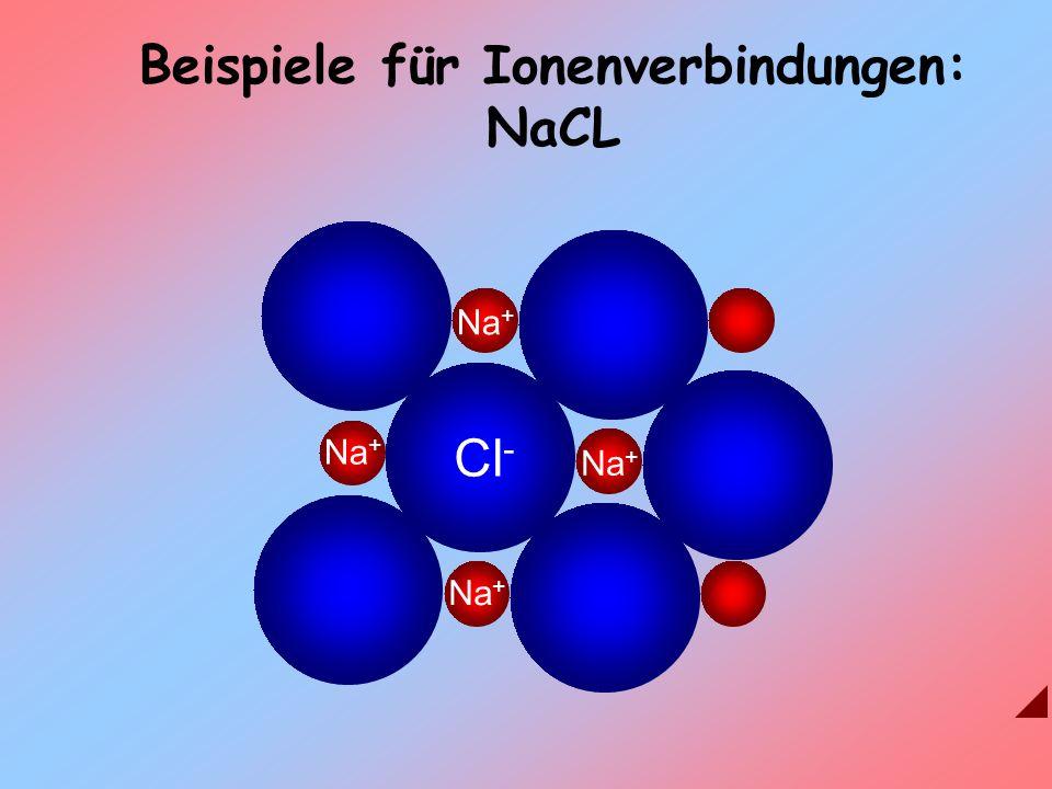 Na + Cl - Na + Beispiele für Ionenverbindungen: NaCL