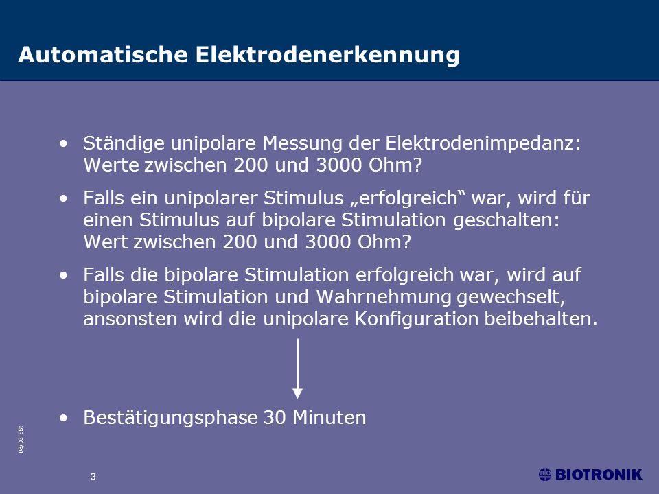 08/03 SSt 3 Automatische Elektrodenerkennung Ständige unipolare Messung der Elektrodenimpedanz: Werte zwischen 200 und 3000 Ohm? Falls ein unipolarer