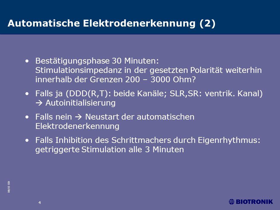 08/03 SSt 4 Automatische Elektrodenerkennung (2) Bestätigungsphase 30 Minuten: Stimulationsimpedanz in der gesetzten Polarität weiterhin innerhalb der