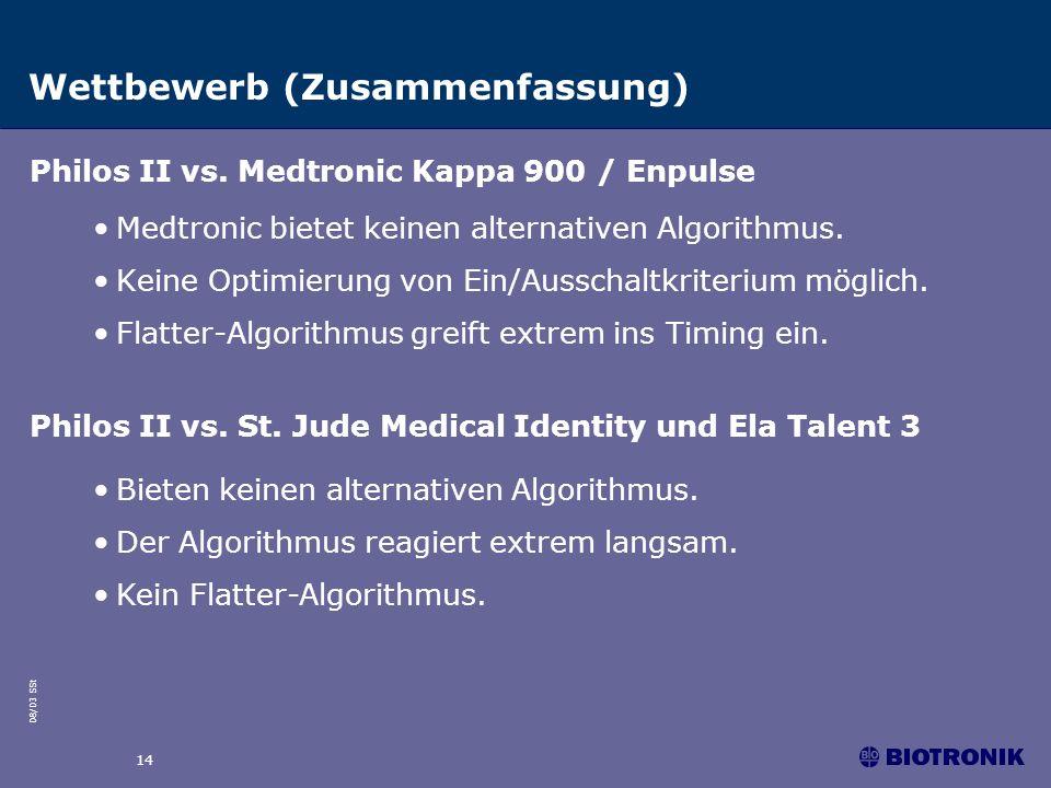 08/03 SSt 14 Wettbewerb (Zusammenfassung) Medtronic bietet keinen alternativen Algorithmus. Keine Optimierung von Ein/Ausschaltkriterium möglich. Flat