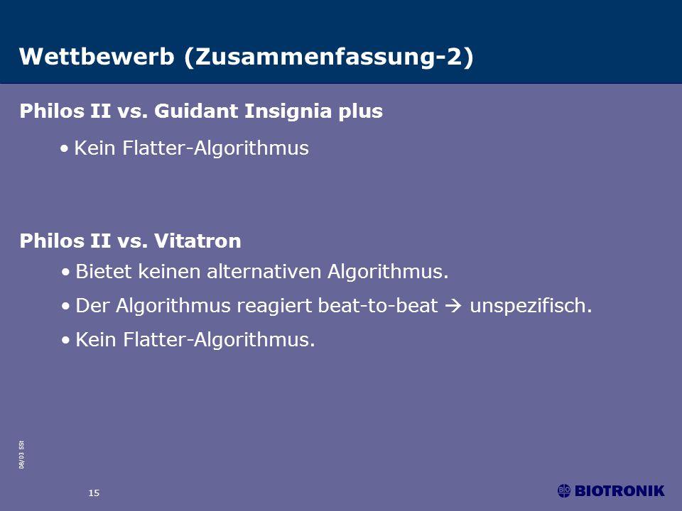 08/03 SSt 15 Wettbewerb (Zusammenfassung-2) Kein Flatter-Algorithmus Philos II vs. Guidant Insignia plus Philos II vs. Vitatron Bietet keinen alternat