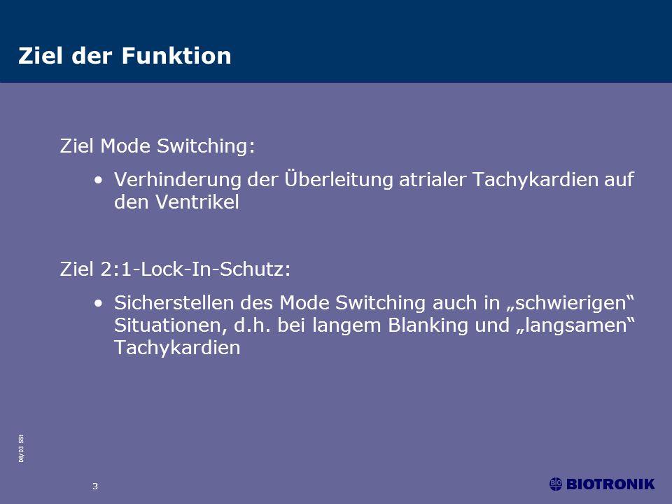 08/03 SSt 3 Ziel Mode Switching: Verhinderung der Überleitung atrialer Tachykardien auf den Ventrikel Ziel 2:1-Lock-In-Schutz: Sicherstellen des Mode Switching auch in schwierigen Situationen, d.h.