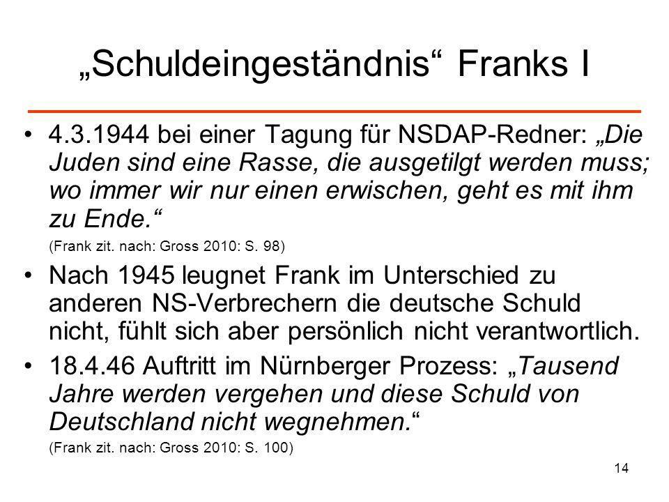 14 Schuldeingeständnis Franks I 4.3.1944 bei einer Tagung für NSDAP-Redner: Die Juden sind eine Rasse, die ausgetilgt werden muss; wo immer wir nur ei