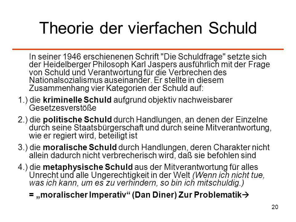 20 Theorie der vierfachen Schuld In seiner 1946 erschienenen Schrift