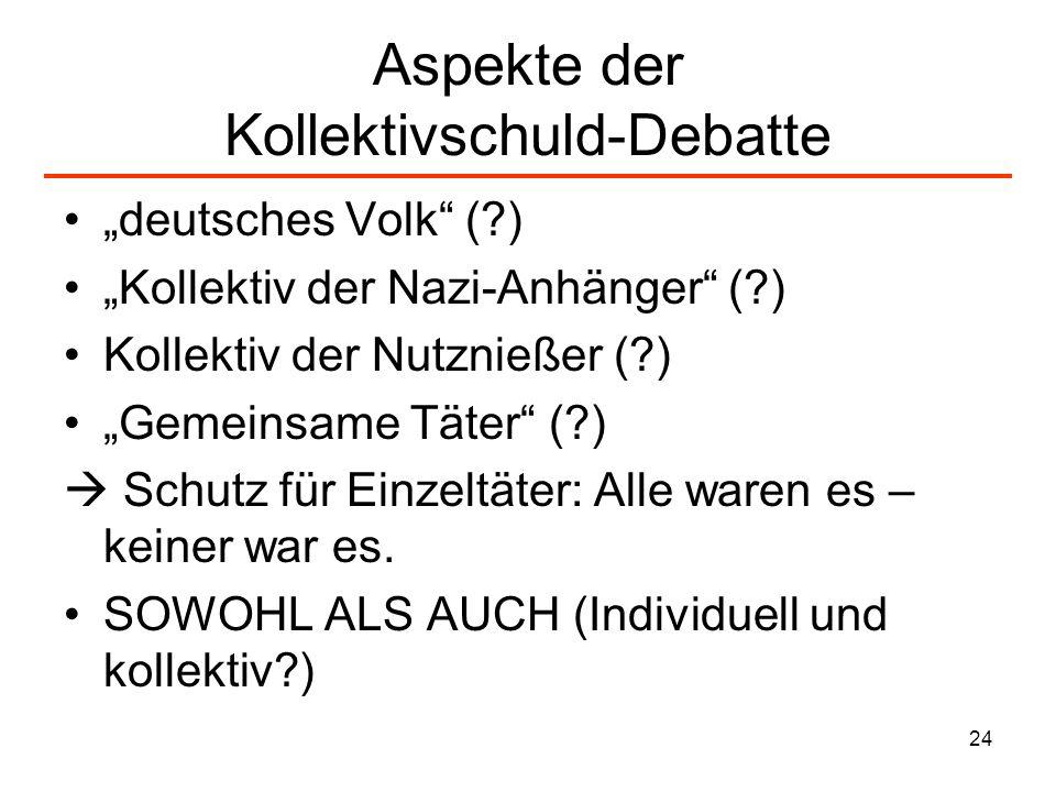 24 Aspekte der Kollektivschuld-Debatte deutsches Volk (?) Kollektiv der Nazi-Anhänger (?) Kollektiv der Nutznießer (?) Gemeinsame Täter (?) Schutz für