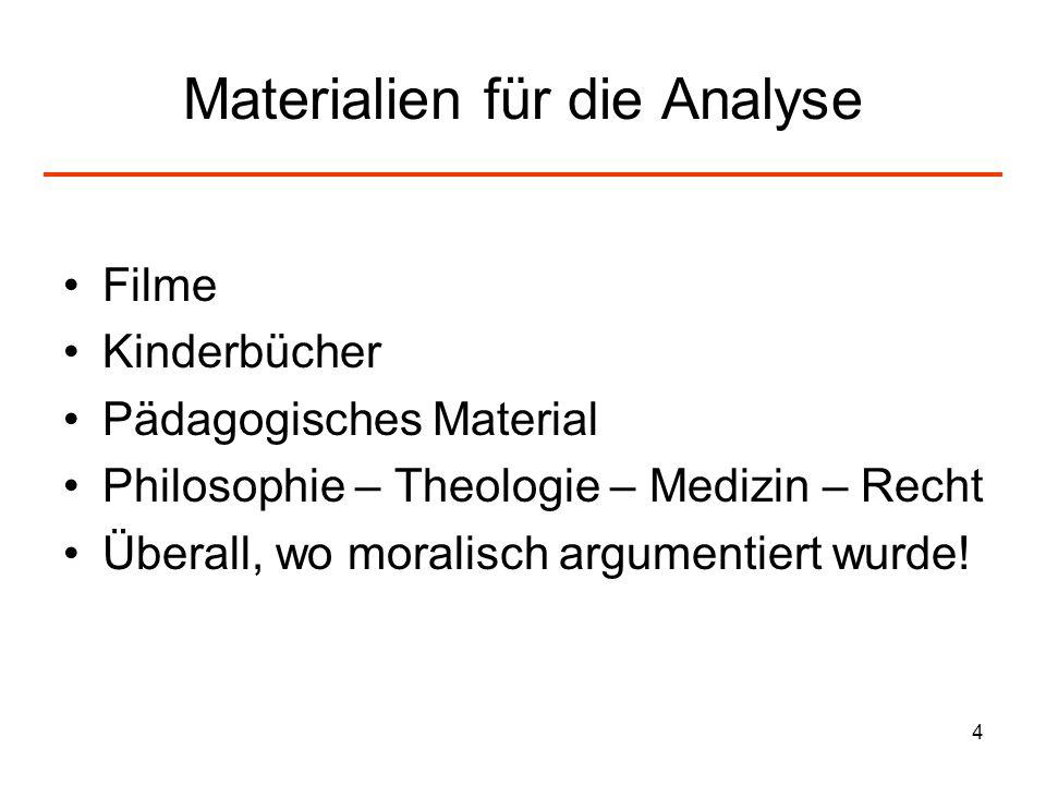 4 Materialien für die Analyse Filme Kinderbücher Pädagogisches Material Philosophie – Theologie – Medizin – Recht Überall, wo moralisch argumentiert w