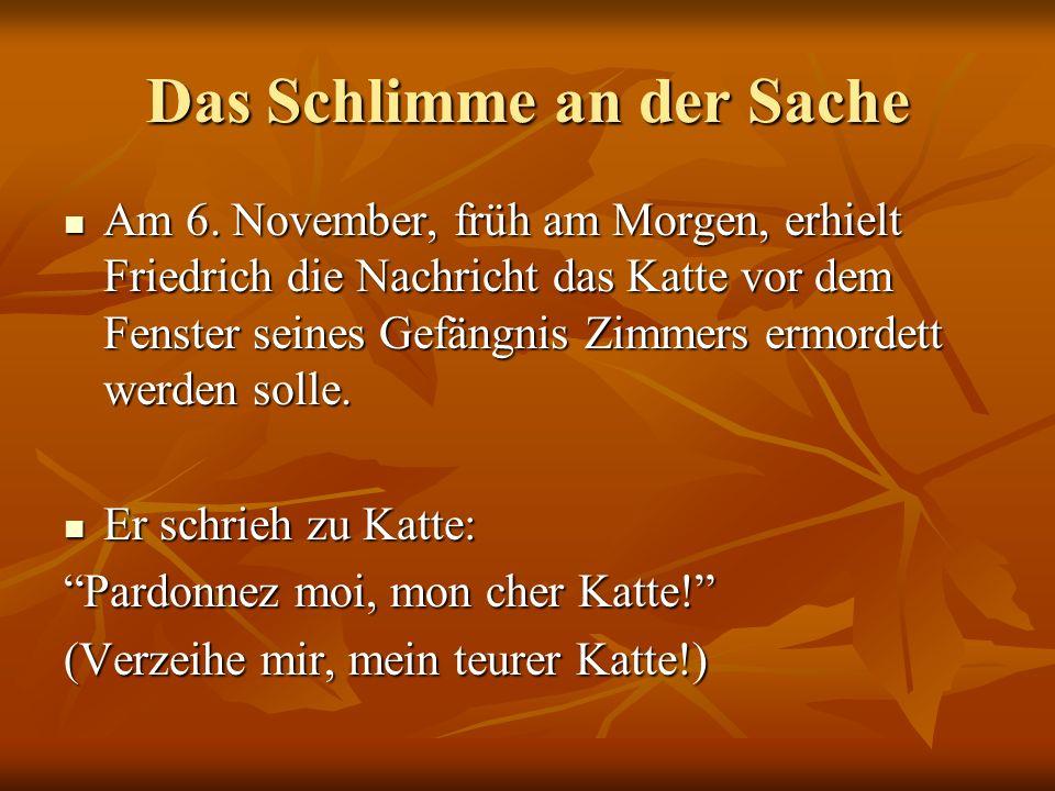 Das Schlimme an der Sache Am 6. November, früh am Morgen, erhielt Friedrich die Nachricht das Katte vor dem Fenster seines Gefängnis Zimmers ermordett