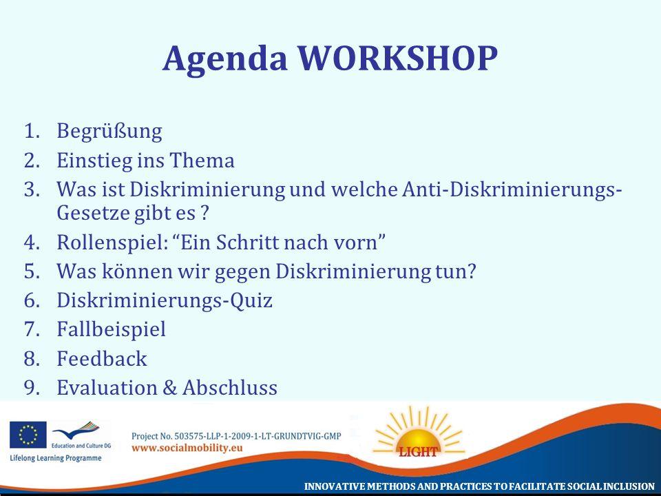INNOVATIVE METHODS AND PRACTICES TO FACILITATE SOCIAL INCLUSION Agenda WORKSHOP 1.Begrüßung 2.Einstieg ins Thema 3.Was ist Diskriminierung und welche