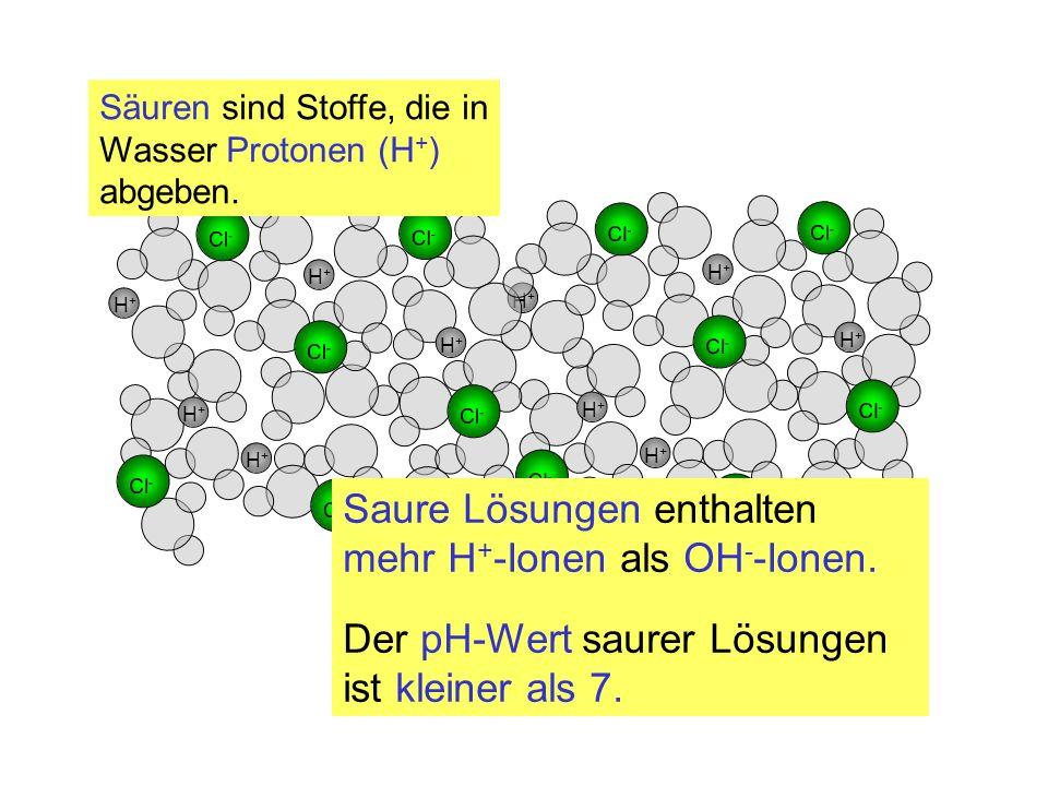 H+H+ Cl - H+H+ H+H+ H+H+ H+H+ H+H+ H+H+ H+H+ H+H+ H+H+ H+H+ H+H+ Säuren sind Stoffe, die in Wasser Protonen (H + ) abgeben. Saure Lösungen enthalten m