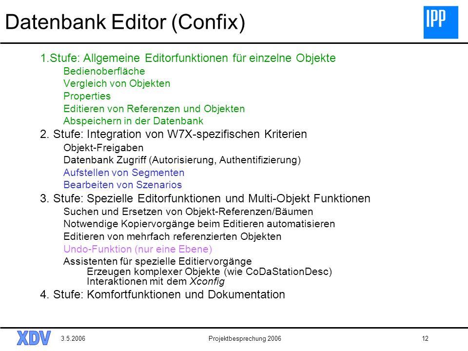 3.5.2006Projektbesprechung 200612 Datenbank Editor (Confix) 1.Stufe: Allgemeine Editorfunktionen für einzelne Objekte Bedienoberfläche Vergleich von O