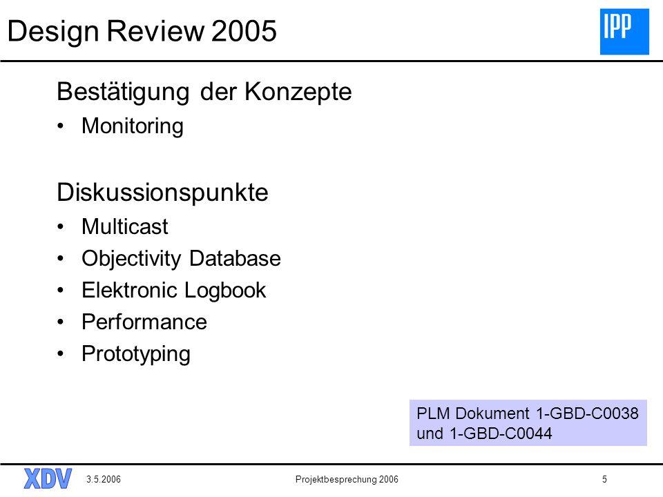 3.5.2006Projektbesprechung 20065 Design Review 2005 Bestätigung der Konzepte Monitoring Diskussionspunkte Multicast Objectivity Database Elektronic Lo