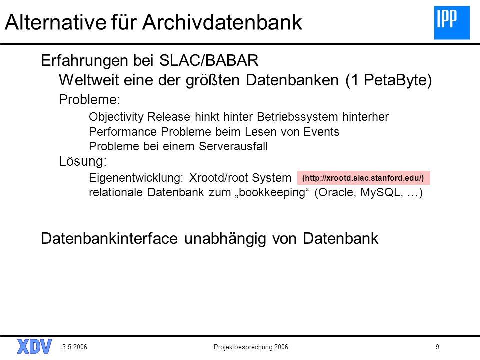 3.5.2006Projektbesprechung 20069 Alternative für Archivdatenbank Erfahrungen bei SLAC/BABAR Weltweit eine der größten Datenbanken (1 PetaByte) Problem