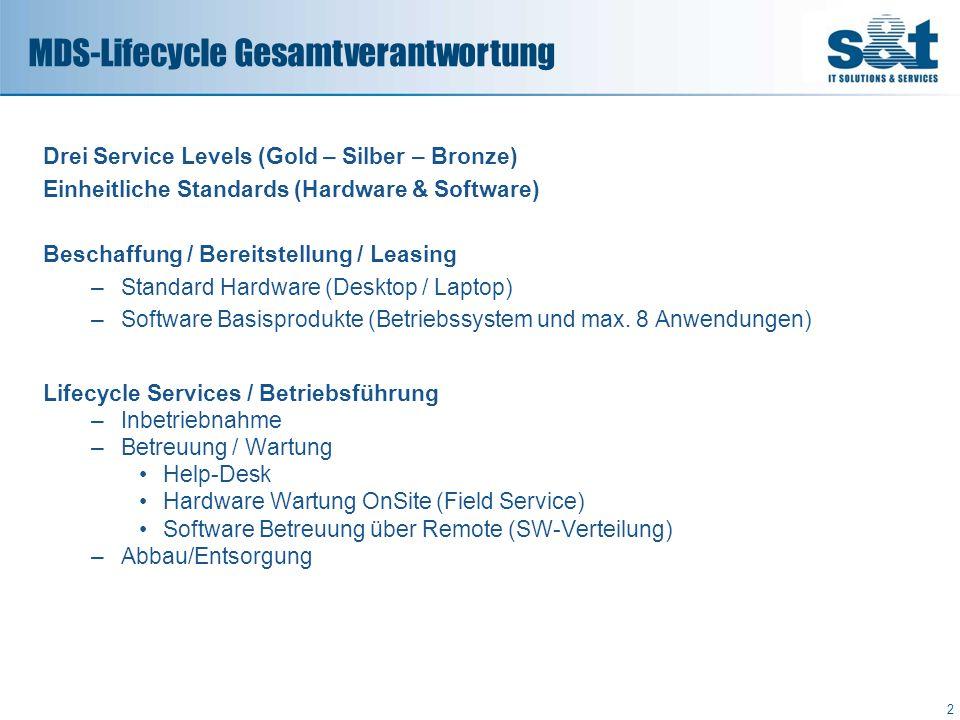 Drei Service Levels (Gold – Silber – Bronze) Einheitliche Standards (Hardware & Software) Beschaffung / Bereitstellung / Leasing –Standard Hardware (D