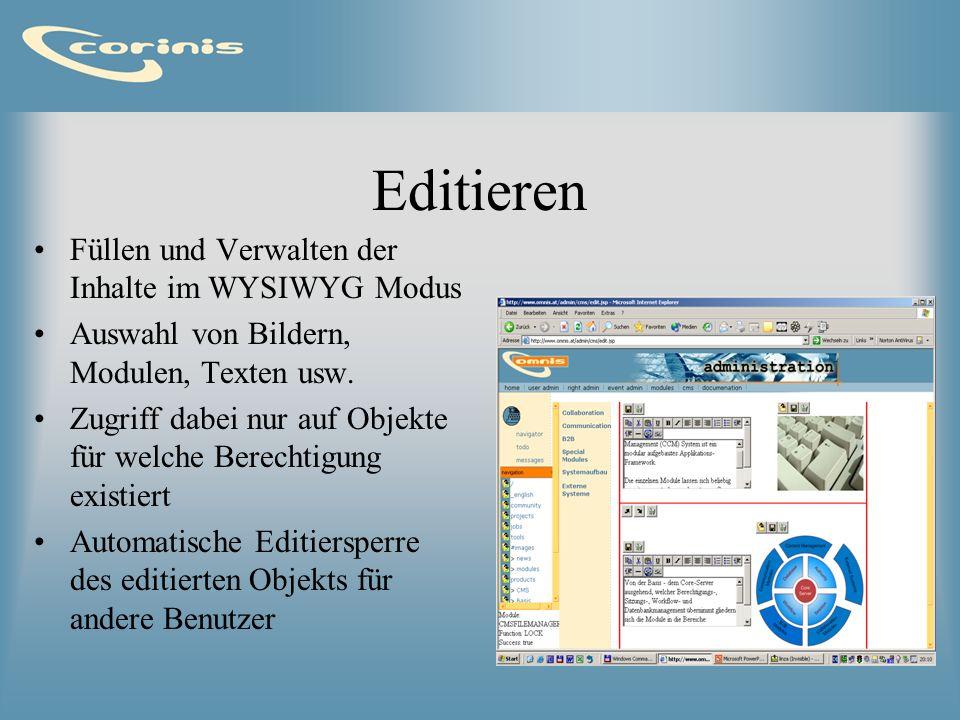 Editieren Füllen und Verwalten der Inhalte im WYSIWYG Modus Auswahl von Bildern, Modulen, Texten usw. Zugriff dabei nur auf Objekte für welche Berecht