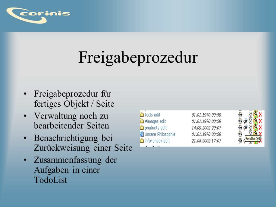 Freigabeprozedur Freigabeprozedur für fertiges Objekt / Seite Verwaltung noch zu bearbeitender Seiten Benachrichtigung bei Zurückweisung einer Seite Z