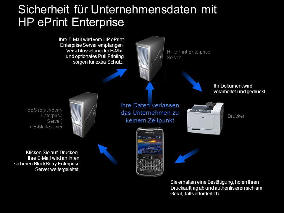 Sicherheit für Unternehmensdaten mit HP ePrint Enterprise Klicken Sie auf 'Drucken'. Ihre E-Mail wird an Ihren sicheren BlackBerry Enterprise Server w