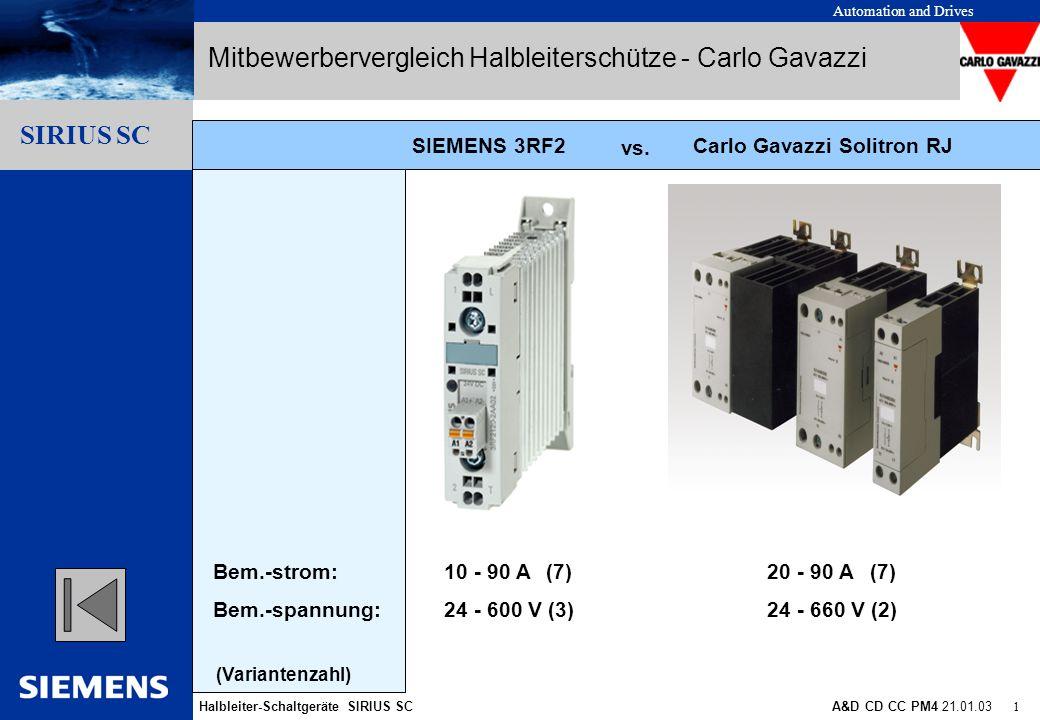 Automation and Drives Halbleiter-Schaltgeräte SIRIUS SCA&D CD CC PM4 21.01.03 12 Gliederungspunkt 10 Gliederungspunkt 1 Gliederungspunkt 2 Gliederungspunkt 3 Gliederungspunkt 4 Gliederungspunkt 5 Gliederungspunkt 6 Gliederungspunkt 7 Gliederungspunkt 8 Gliederungspunkt 9 SIRIUS SC + Carlo Gavazzi Solitron RN Mitbewerbervergleich Halbleiterschütze - Carlo Gavazzi SIRIUS SC: 2 Anschlusslogiken Schütze Relais Nur industrielle Anschlusslogik Standard