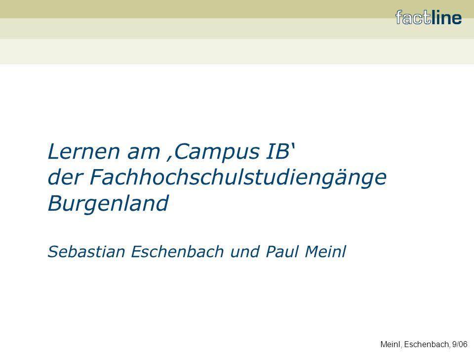 Meinl, Eschenbach, 9/06 factline Webservices GmbH Technologie: factline Community Server Services: Consulting, Konzeption, Betreuung Fokus: –E-Portfolios –Learning Communities/Kollaboratives Blended Learning –Projektkommunikation (z.B.