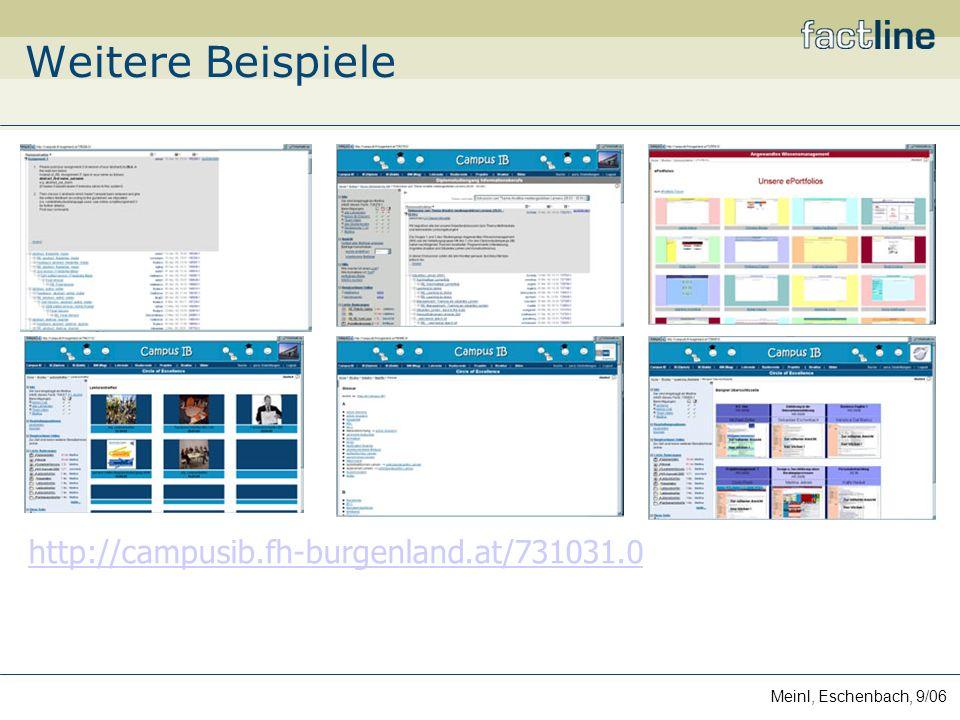Meinl, Eschenbach, 9/06 Weitere Beispiele http://campusib.fh-burgenland.at/731031.0