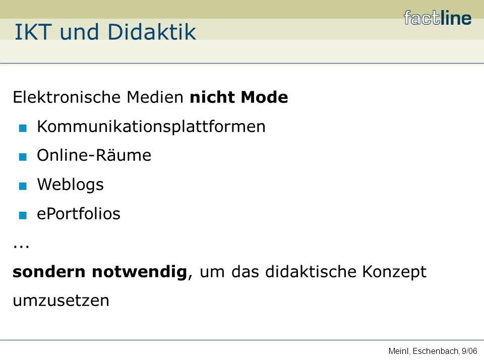 Meinl, Eschenbach, 9/06 IKT und Didaktik Elektronische Medien nicht Mode Kommunikationsplattformen Online-Räume Weblogs ePortfolios...