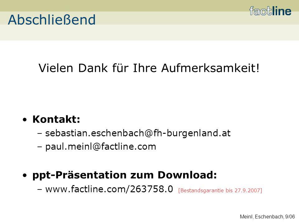 Meinl, Eschenbach, 9/06 Vielen Dank für Ihre Aufmerksamkeit.