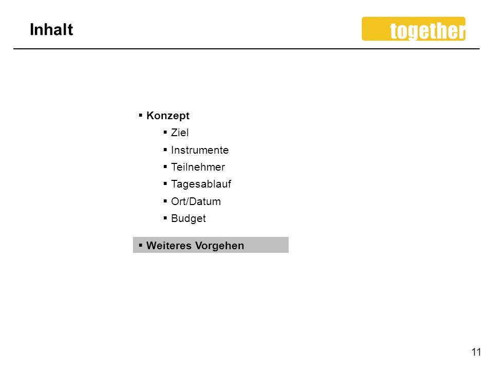 Inhalt 11 Konzept Ziel Instrumente Teilnehmer Tagesablauf Ort/Datum Budget Weiteres Vorgehen