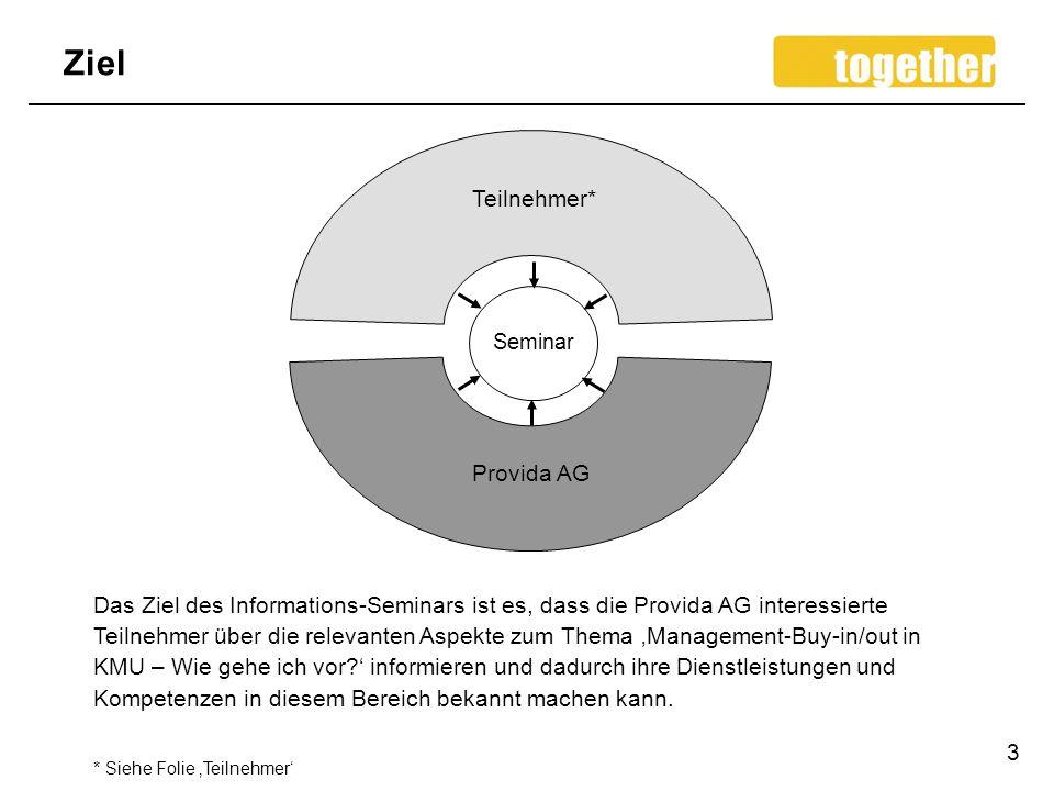 Ziel 3 Das Ziel des Informations-Seminars ist es, dass die Provida AG interessierte Teilnehmer über die relevanten Aspekte zum Thema Management-Buy-in