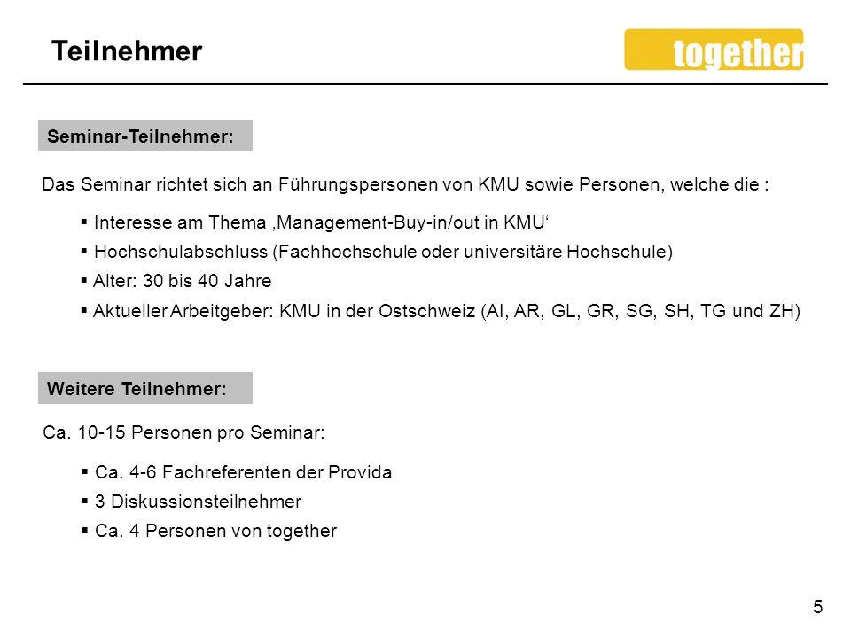 Teilnehmer 5 Seminar-Teilnehmer: Interesse am Thema Management-Buy-in/out in KMU Hochschulabschluss (Fachhochschule oder universitäre Hochschule) Alte