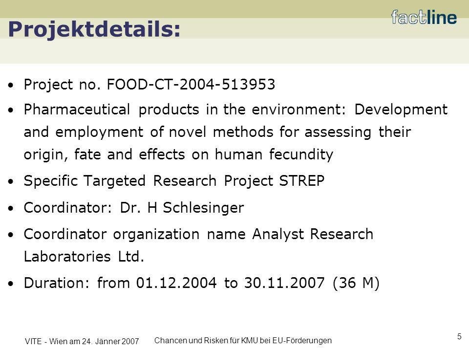 VITE - Wien am 24. Jänner 2007 Chancen und Risken für KMU bei EU-Förderungen 5 Projektdetails: Project no. FOOD-CT-2004-513953 Pharmaceutical products