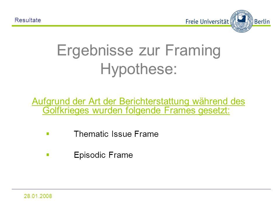 28.01.2008 Resultate Aufgrund der Art der Berichterstattung während des Golfkrieges wurden folgende Frames gesetzt: Ergebnisse zur Framing Hypothese: