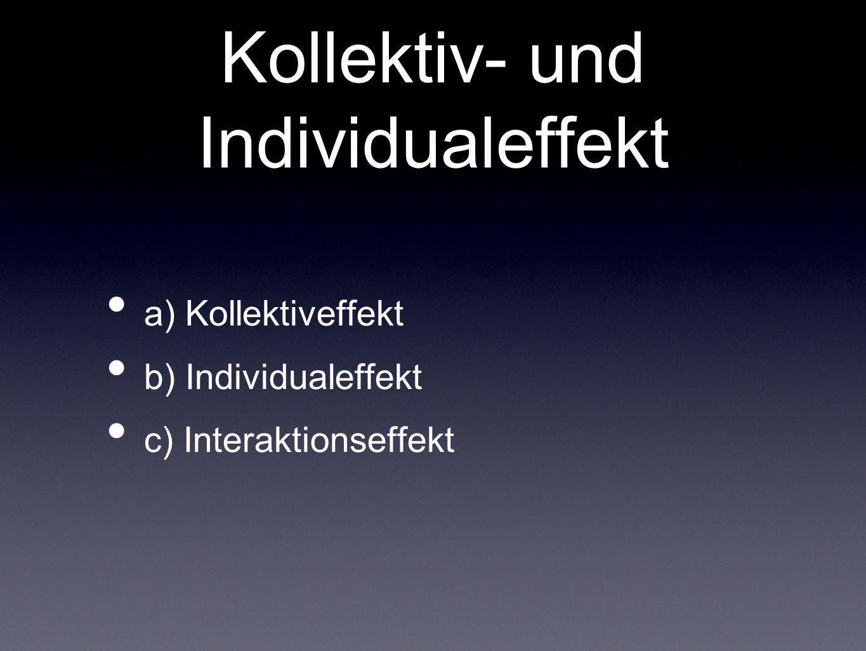 Kollektiv- und Individualeffekt a) Kollektiveffekt b) Individualeffekt c) Interaktionseffekt