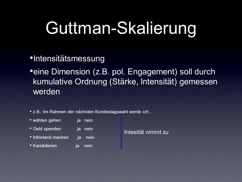 Guttman-Skalierung Intensitätsmessung eine Dimension (z.B. pol. Engagement) soll durch kumulative Ordnung (Stärke, Intensität) gemessen werden z.B.: I
