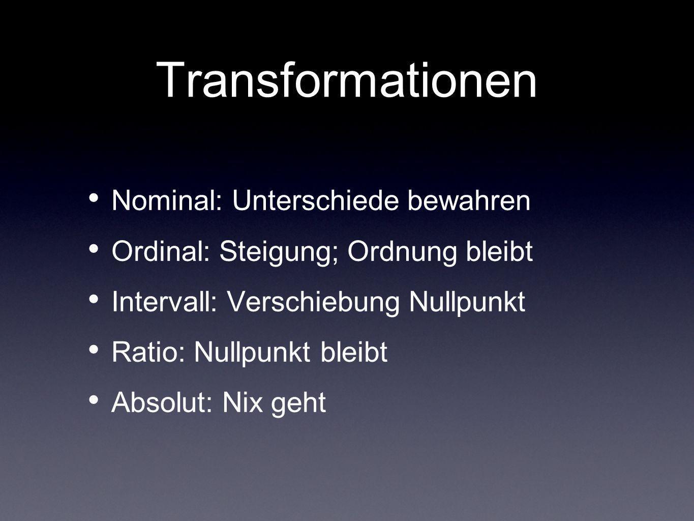 Transformationen Nominal: Unterschiede bewahren Ordinal: Steigung; Ordnung bleibt Intervall: Verschiebung Nullpunkt Ratio: Nullpunkt bleibt Absolut: N