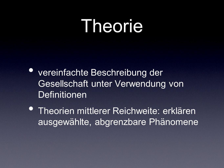 Theorie vereinfachte Beschreibung der Gesellschaft unter Verwendung von Definitionen Theorien mittlerer Reichweite: erklären ausgewählte, abgrenzbare
