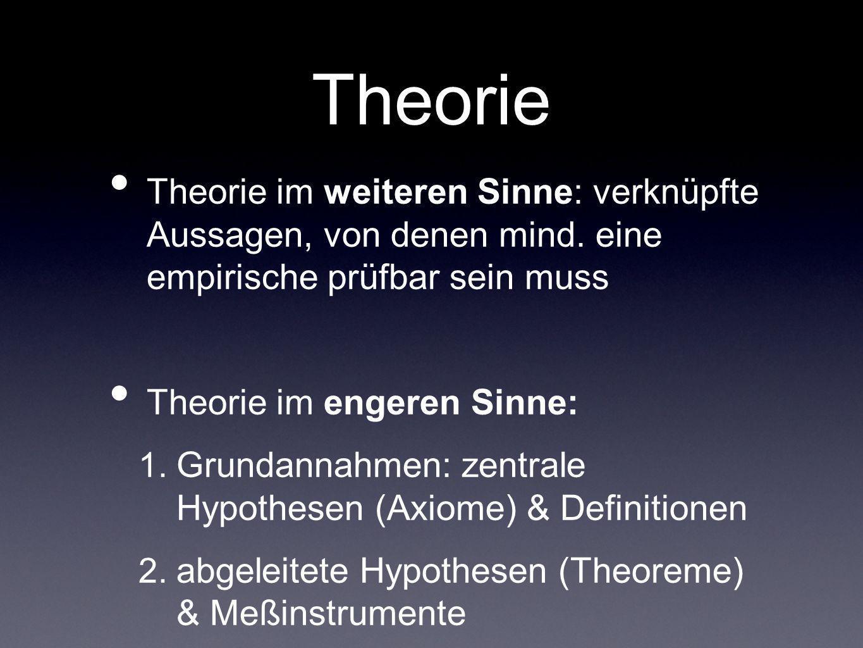 Theorie Theorie im weiteren Sinne: verknüpfte Aussagen, von denen mind. eine empirische prüfbar sein muss Theorie im engeren Sinne: 1. Grundannahmen: