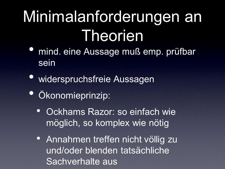 Minimalanforderungen an Theorien mind. eine Aussage muß emp. prüfbar sein widerspruchsfreie Aussagen Ökonomieprinzip: Ockhams Razor: so einfach wie mö