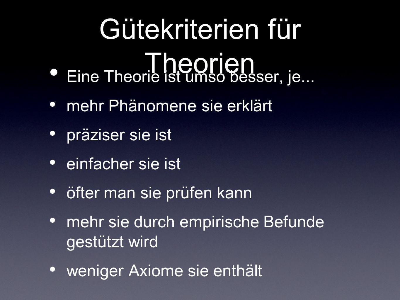Gütekriterien für Theorien Eine Theorie ist umso besser, je... mehr Phänomene sie erklärt präziser sie ist einfacher sie ist öfter man sie prüfen kann