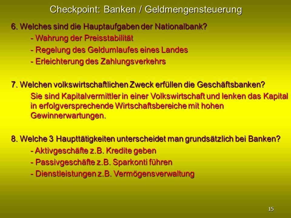 Checkpoint: Banken / Geldmengensteuerung 6. Welches sind die Hauptaufgaben der Nationalbank? - Wahrung der Preisstabilität - Regelung des Geldumlaufes