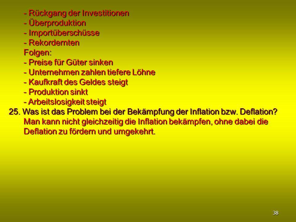 - Rückgang der Investitionen - Überproduktion - Importüberschüsse - Rekordernten Folgen: - Preise für Güter sinken - Unternehmen zahlen tiefere Löhne
