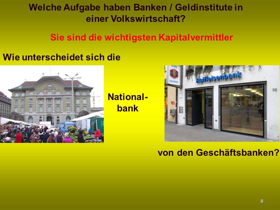 Welche Aufgabe haben Banken / Geldinstitute in einer Volkswirtschaft? Sie sind die wichtigsten Kapitalvermittler Wie unterscheidet sich die von den Ge