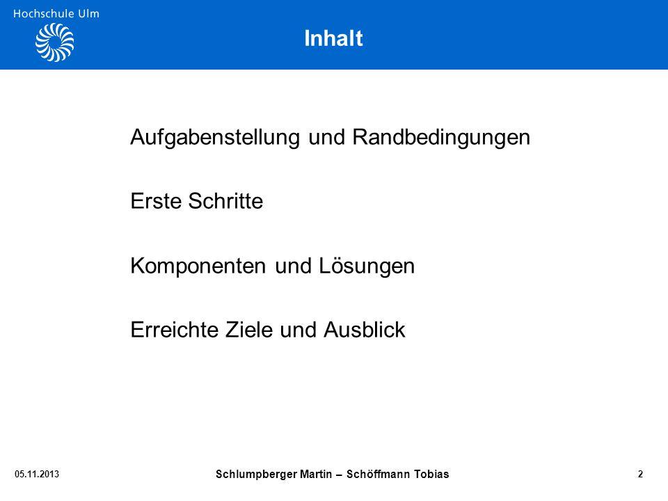 Aufgabenstellung 05.11.2013 Schlumpberger Martin – Schöffmann Tobias 3 Randbedingungen: -Große Anlaufzeitkonstante T -Bei ca.