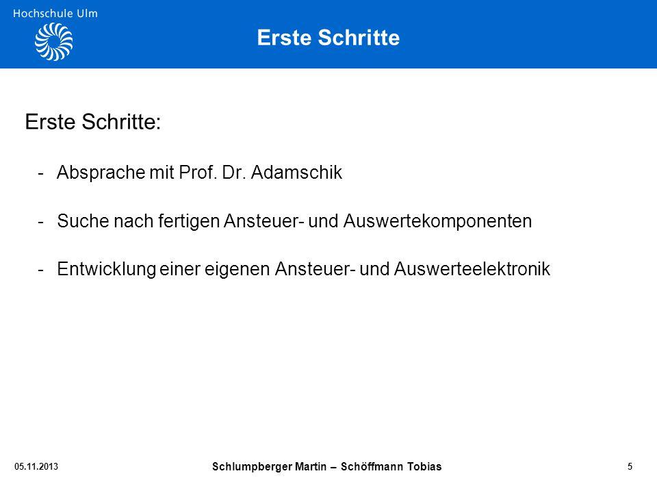 Erste Schritte Erste Schritte: -Absprache mit Prof. Dr. Adamschik -Suche nach fertigen Ansteuer- und Auswertekomponenten -Entwicklung einer eigenen An