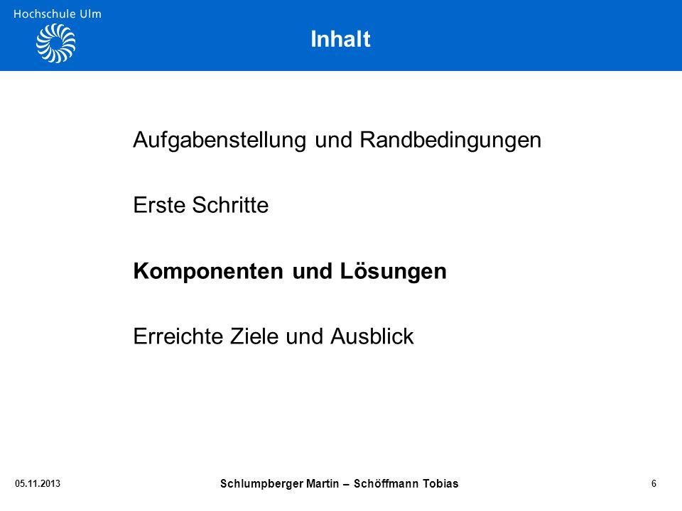 Inhalt Aufgabenstellung und Randbedingungen Erste Schritte Komponenten und Lösungen Erreichte Ziele und Ausblick 05.11.2013 Schlumpberger Martin – Sch